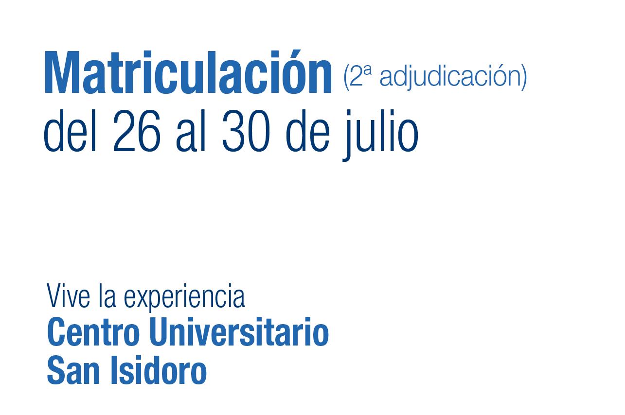 Matriculación. Centro Universitario San Isidoro. Sevilla
